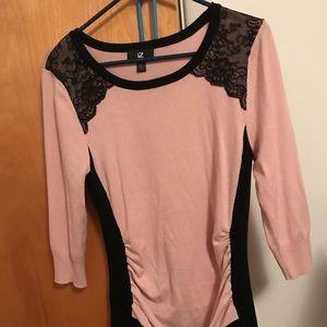 IZ Byer Pink & Black Cinched Sweater Size XL 💕💕